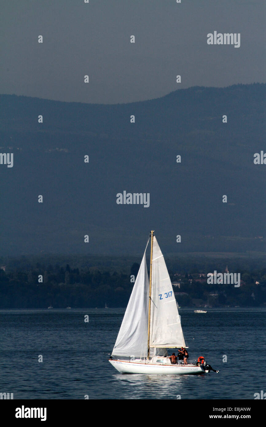 Lake Geneva. Sailboat. - Stock Image