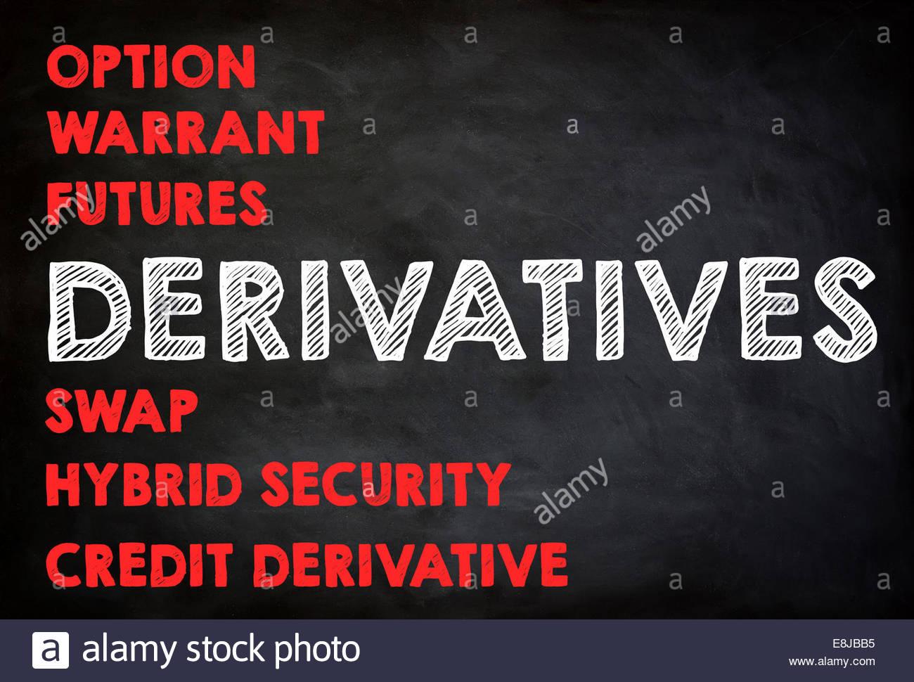 DERIVATIVES - chalkboard concept - Stock Image