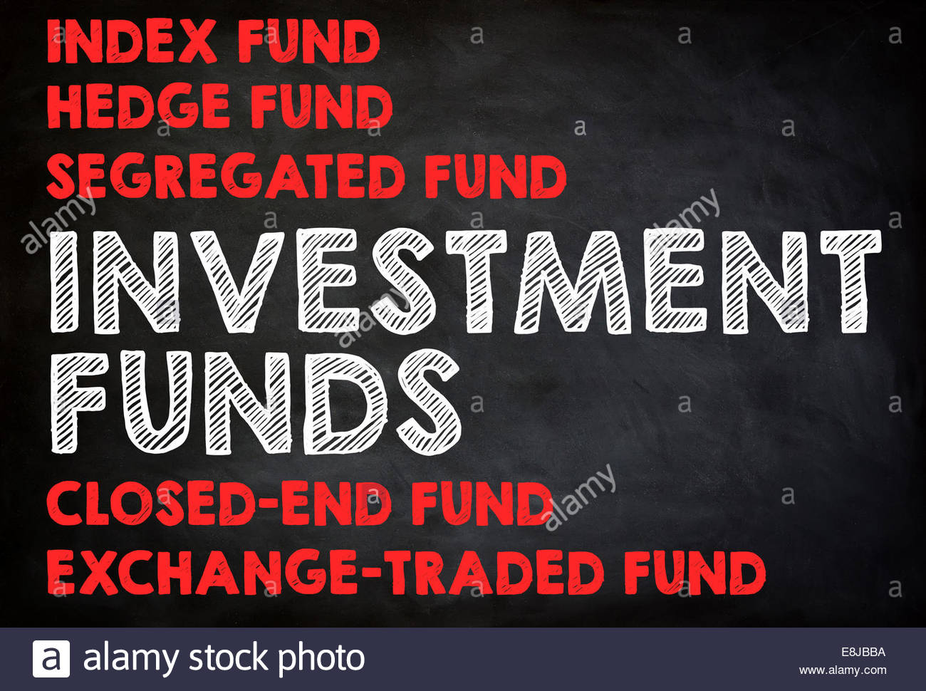 INVESTMENT FUNDS - chalkboard concept - Stock Image