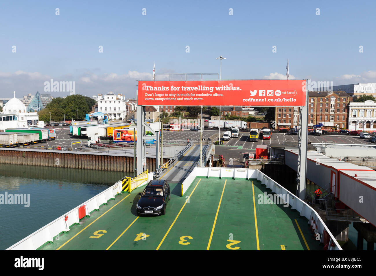 Red Funnel car ferry leaving Southampton, England, UK - Stock Image