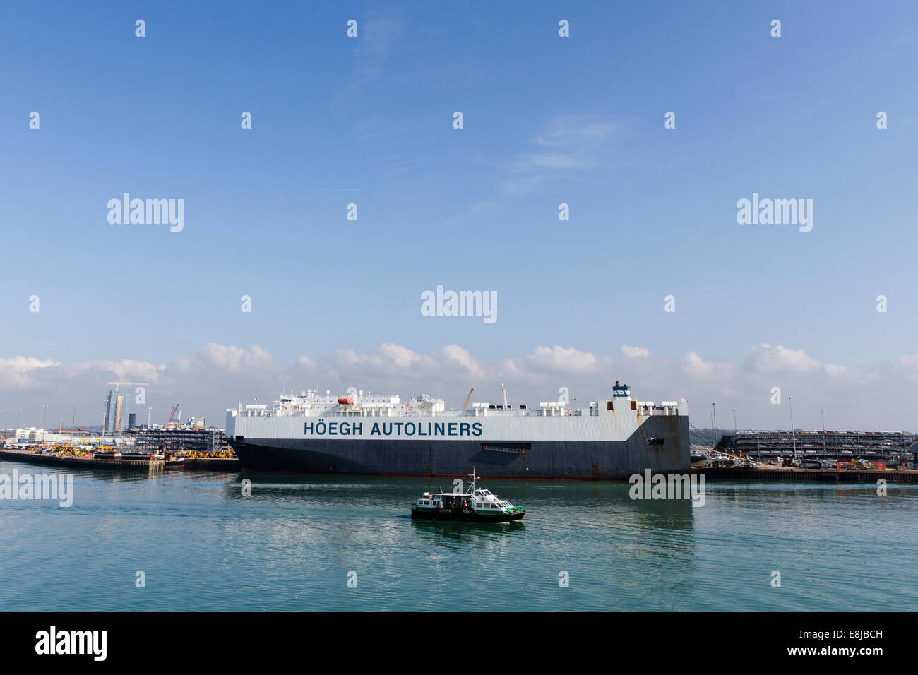 Hoegh Autoliners, car carrier, shipping company, Southampton docks, England, UK - Stock Image