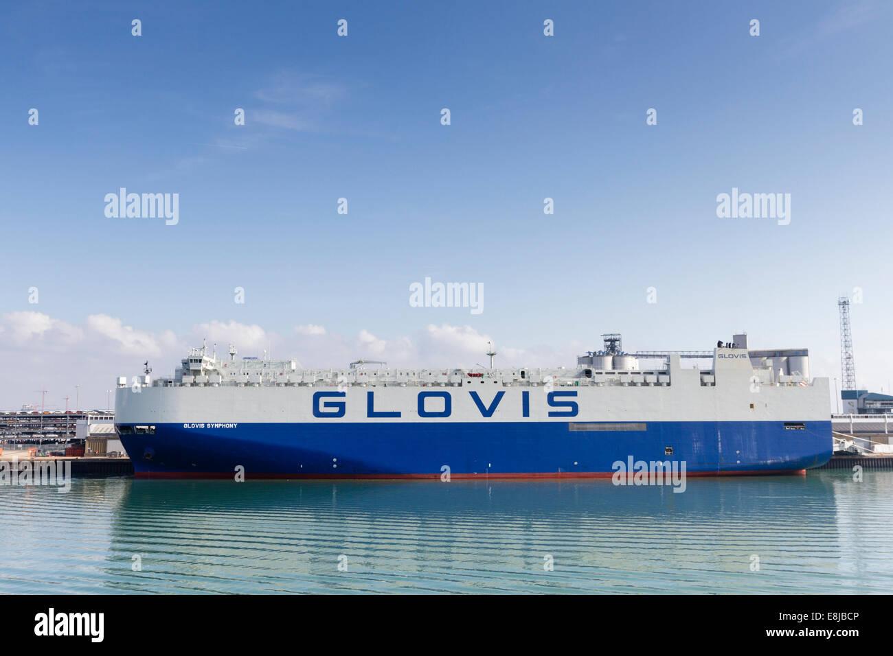 Glovis Symphony car carrier, shipping company, Southampton docks, England, UK - Stock Image