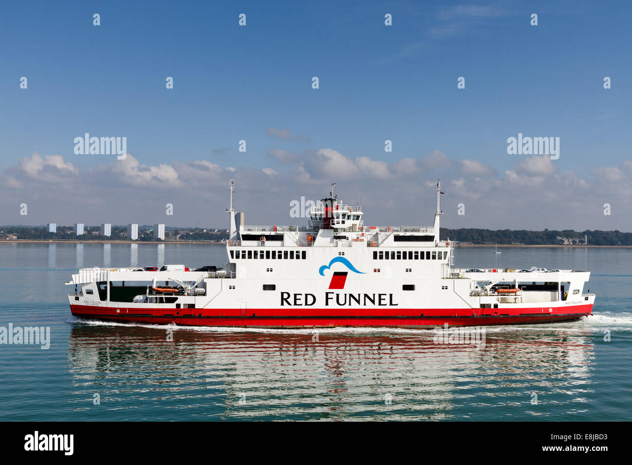 Red Funnel car ferry ,the Solent, Southampton, England, UK - Stock Image