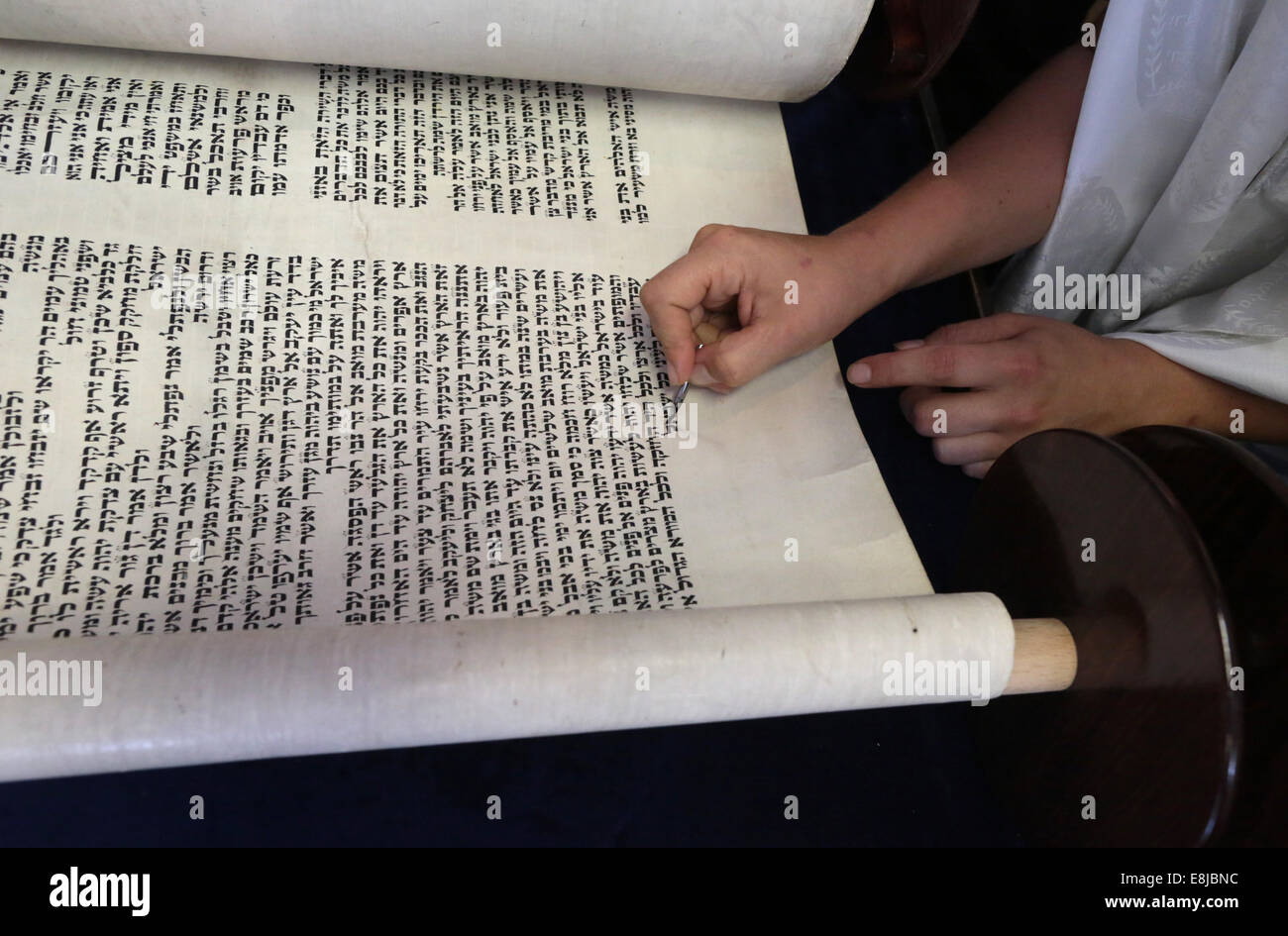 Launch of a new Torah in a synagogue. - Stock Image