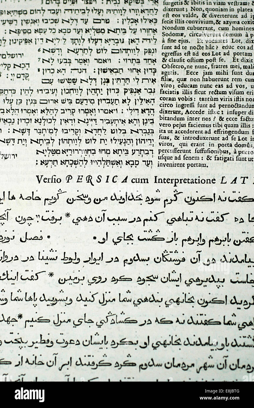 Bible in Hebrew, Latin and Arabic - Stock Image