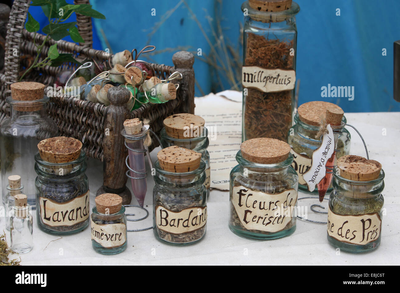 Trade in herbs. Herbalist production. Stock Photo