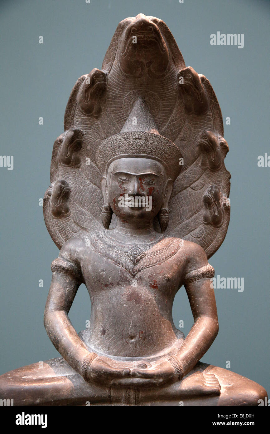 Buddha protected by the Naga. MusŽe Guimet. Museum of Asian Arts. Paris. Exhibition: Angkor Birth of a Myth. Louis - Stock Image
