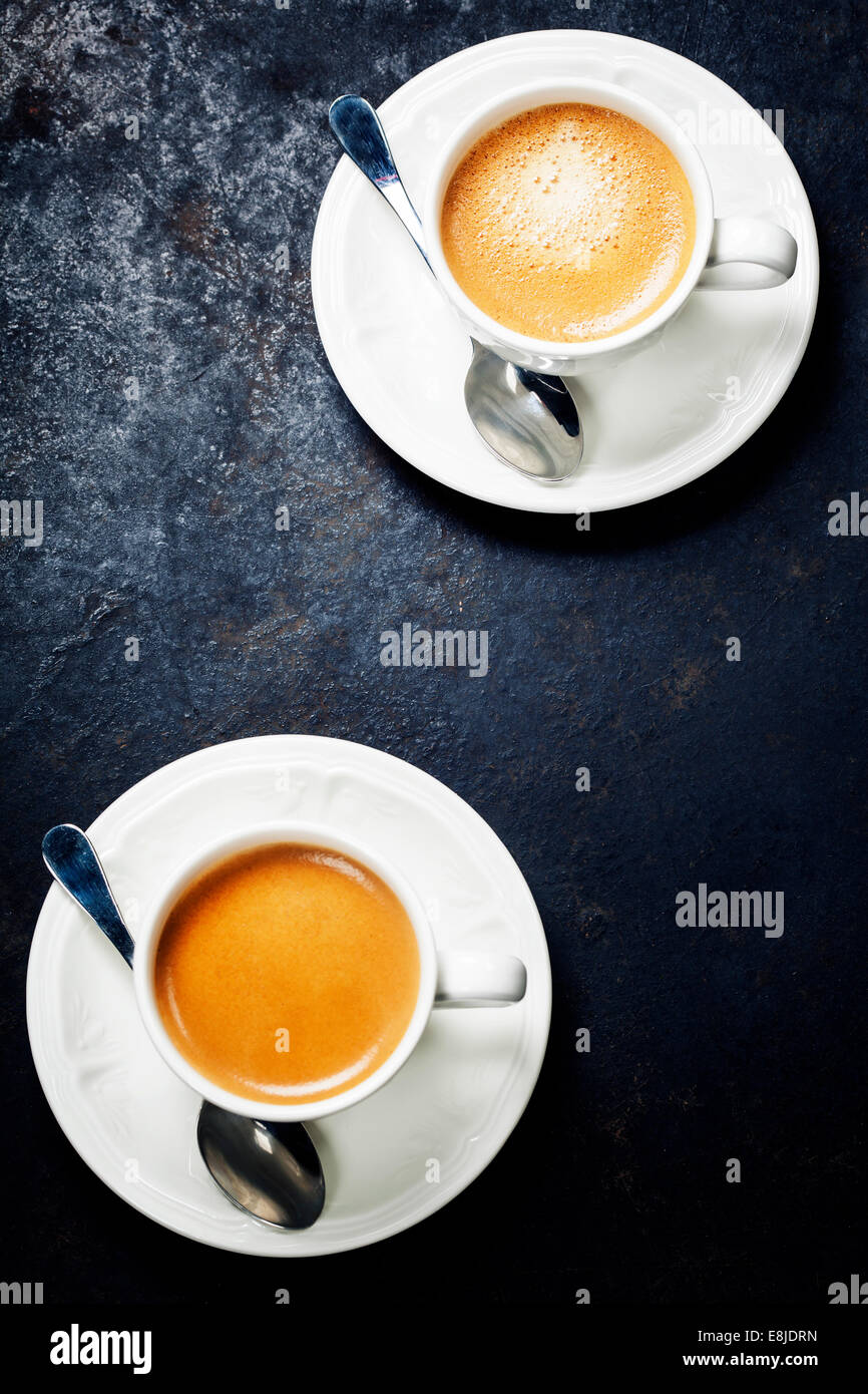 Coffee composition on dark rustic background - Stock Image