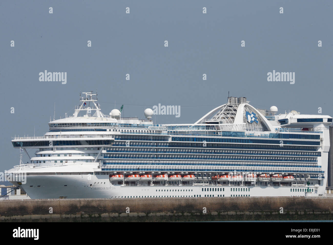 Le Havre harbour. Liner. - Stock Image