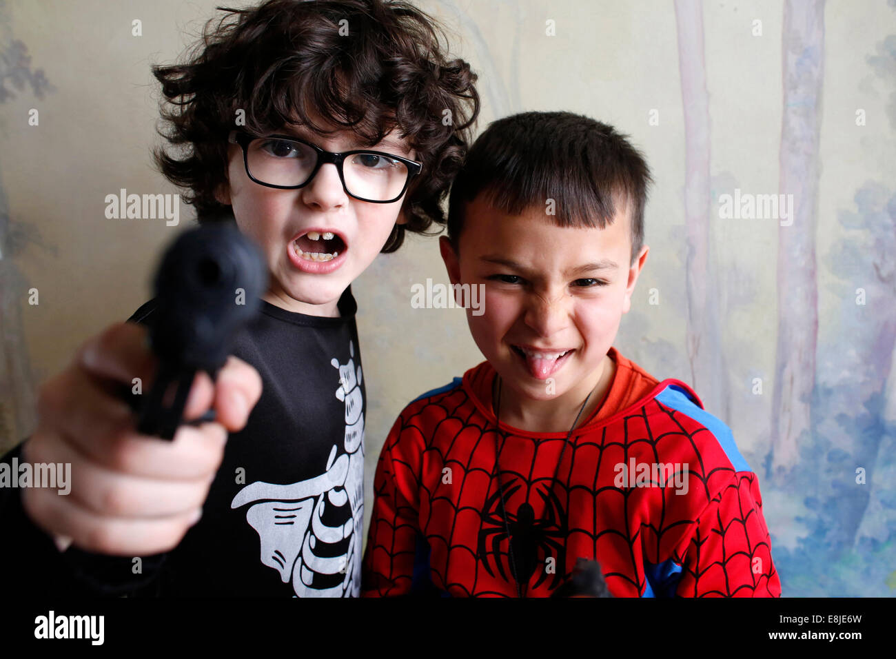 7-year-old boys - Stock Image