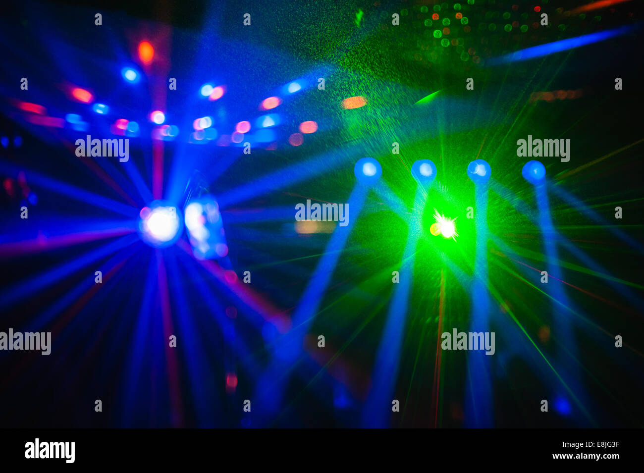 color disco club light with special effects and laser show stock
