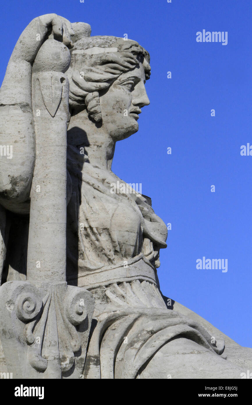 Allegorical statues representing the four Russian rivers: Neva, Volga, Dnieper and Volkhov. - Stock Image