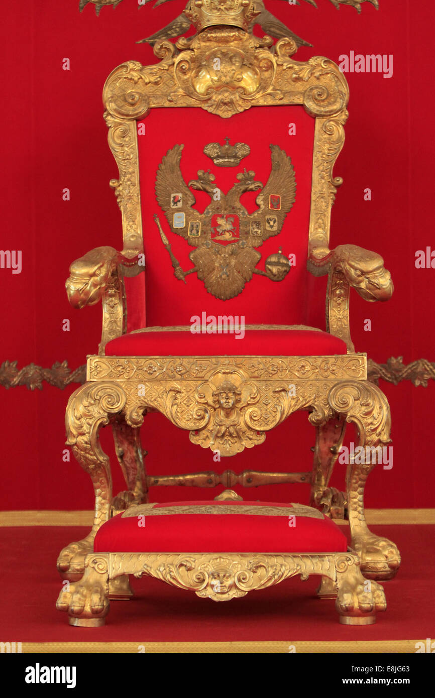 Golden Throne. The throne's room. The St. George Hall. Hermitage Museum. - Stock Image