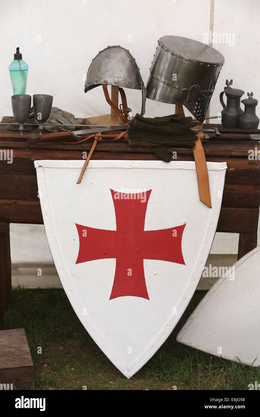 Emblem of the Knights Templar. - Stock Image