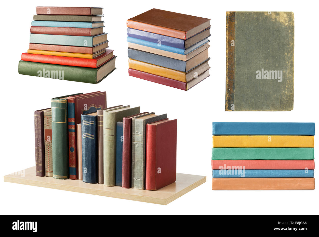 Bookshelf and book stacks on white background - Stock Image