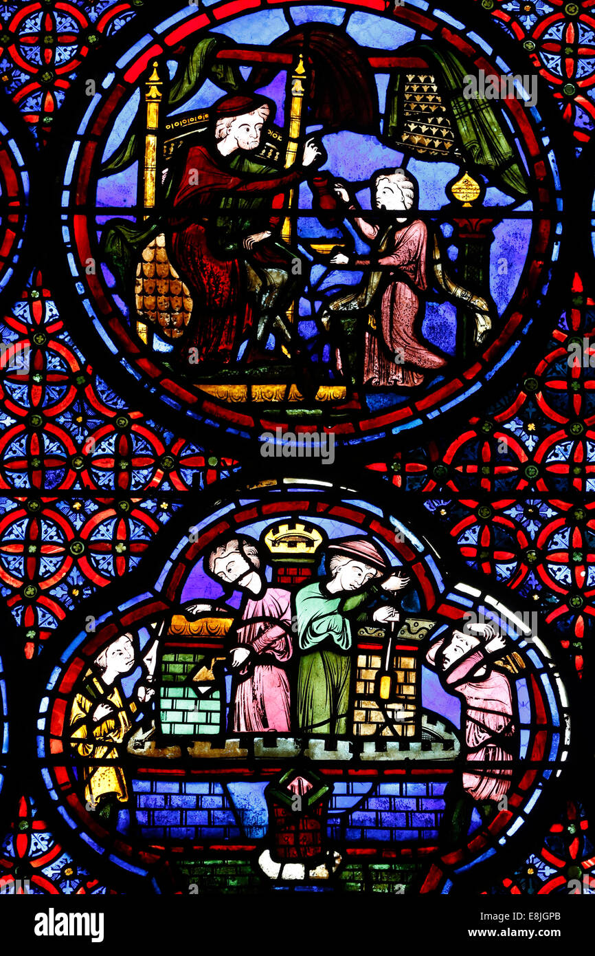 Stained glass of Lazarus and the Rich Man. Stained-glass window. Bourges cathedral. 13th century. - Stock Image