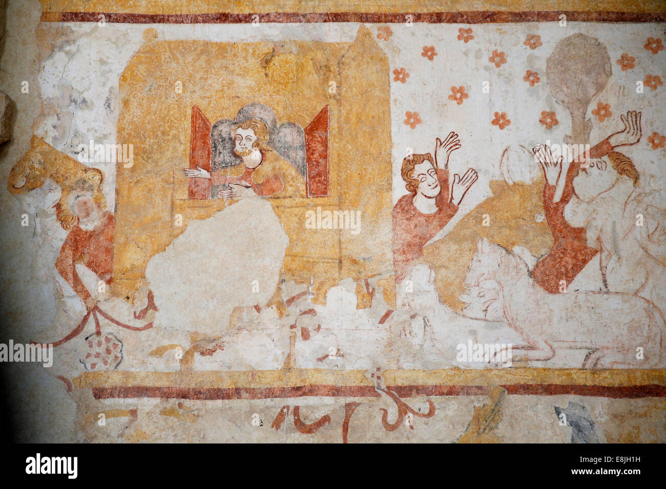 Noah's ark. The Flood. Mural : XIIth to XVIth century. Church of Moutiers. - Stock Image