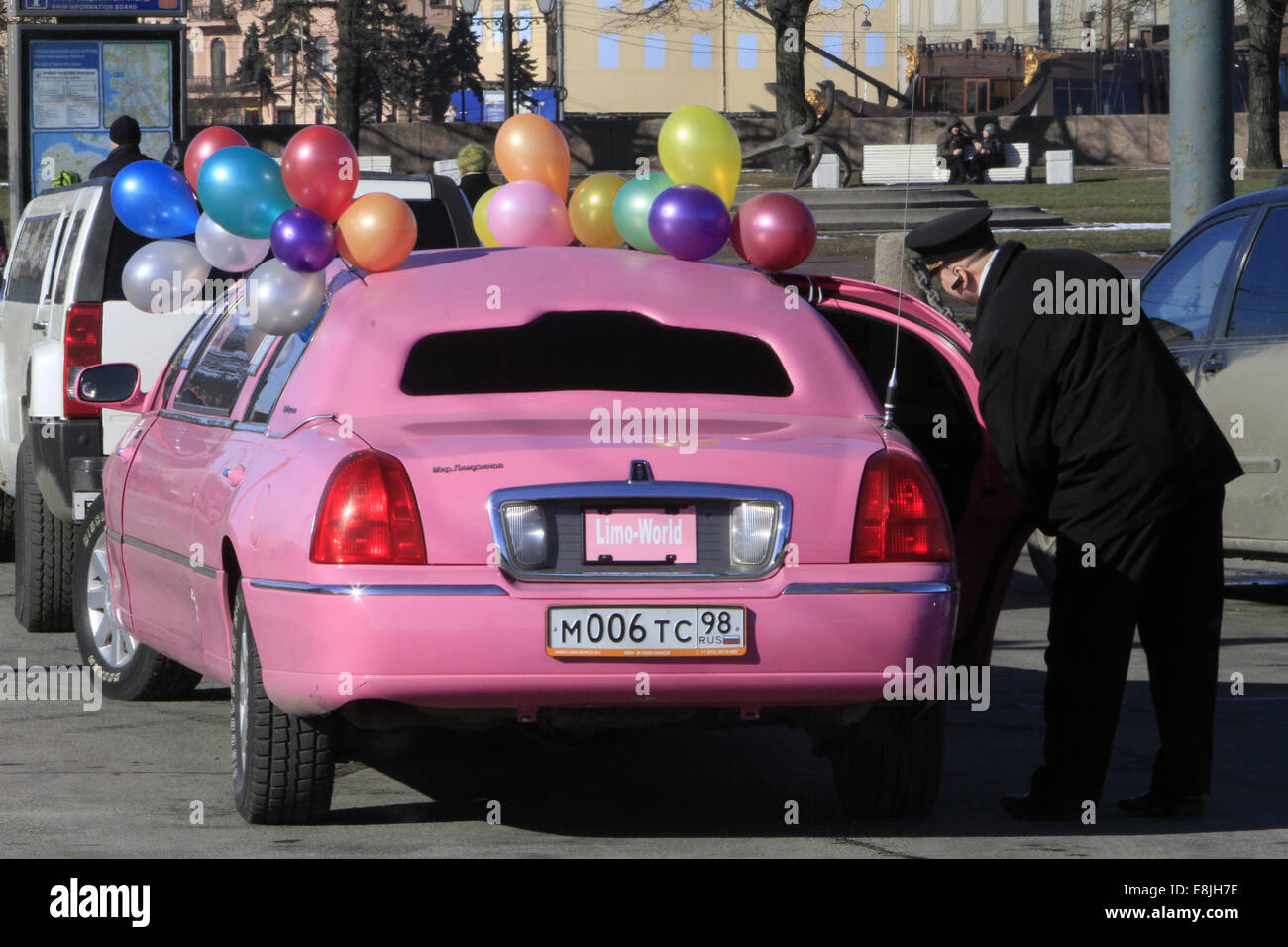 Pink russia car. Limousine. - Stock Image