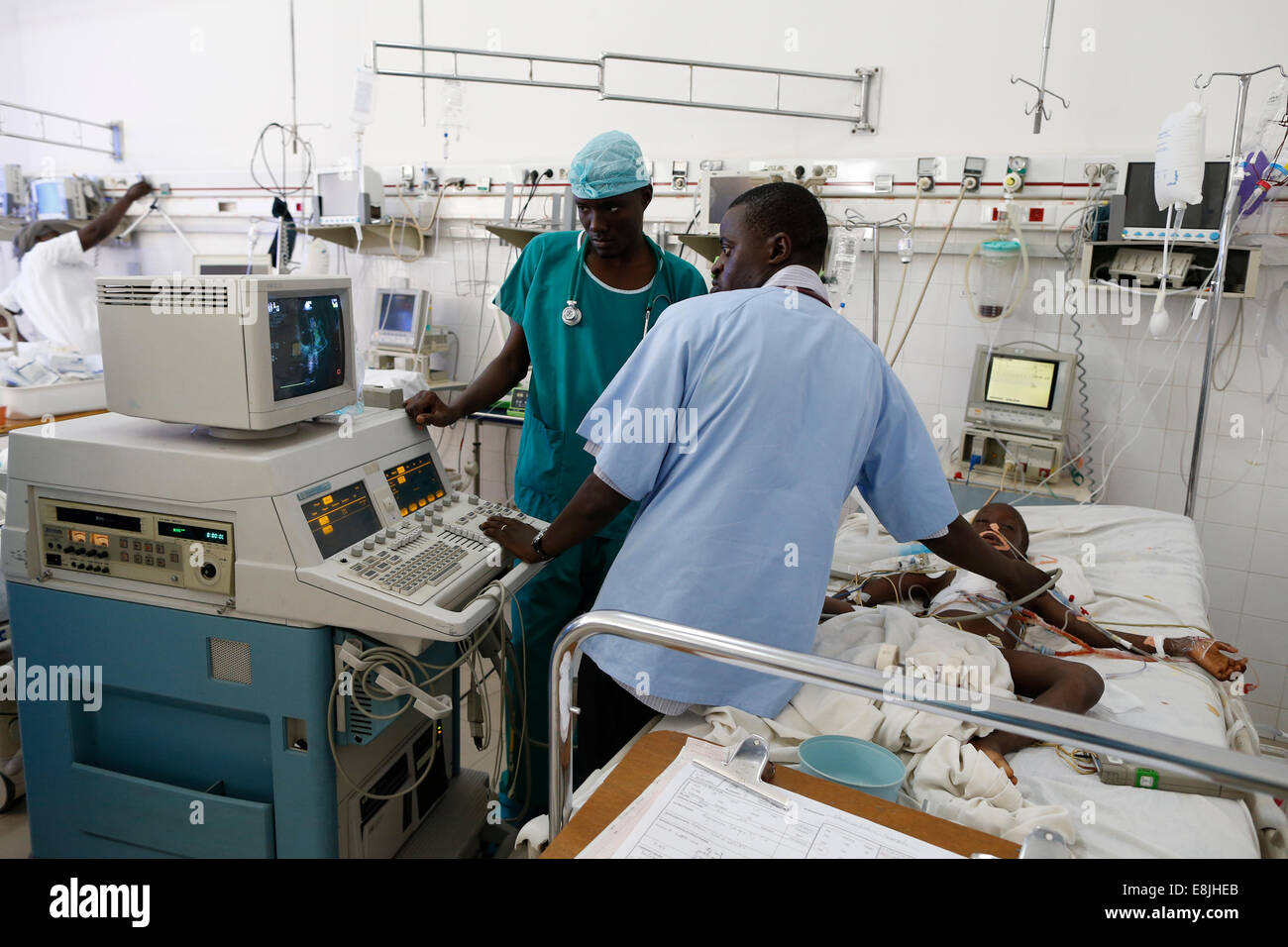 Echography. Intensive care unit. Fann hospital. - Stock Image
