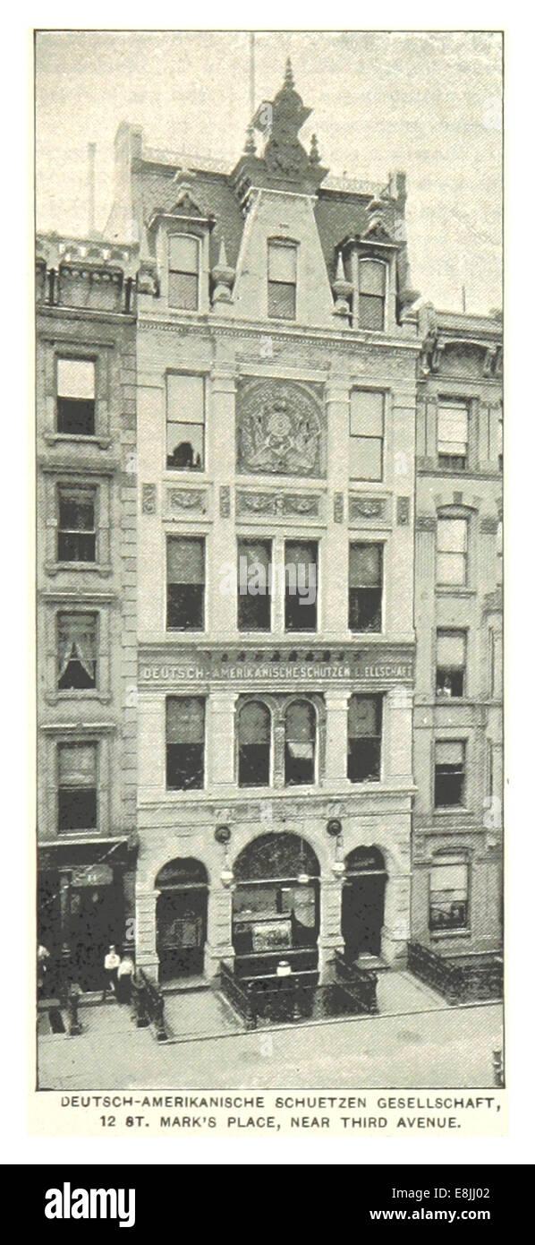 (King1893NYC) pg575 DEUTSCH-AMERIKANISCHE SCHUETZEN GESELLSCHAFT, 12 ST. MARK'S PLACE, NEAR THIRD AVENUE - Stock Image