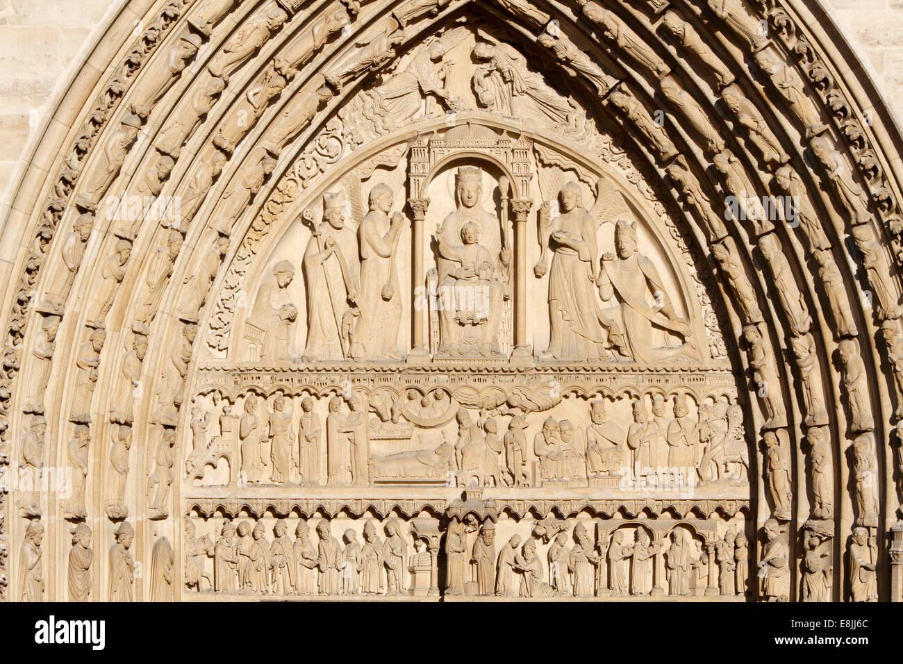 Notre-Dame de Paris Cathedral. Western Facade. Portal of Saint Anne. Stock Photo