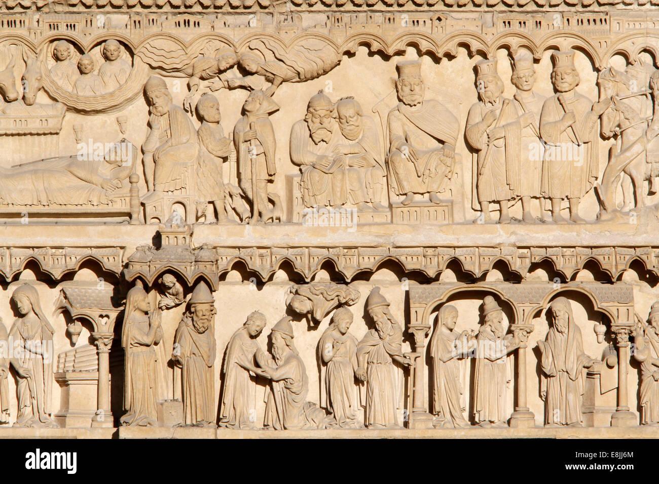 Notre-Dame de Paris Cathedral. Western Facade : Portal of Saint Anne : Biblical theme : Life of Virgin Mary. Stock Photo