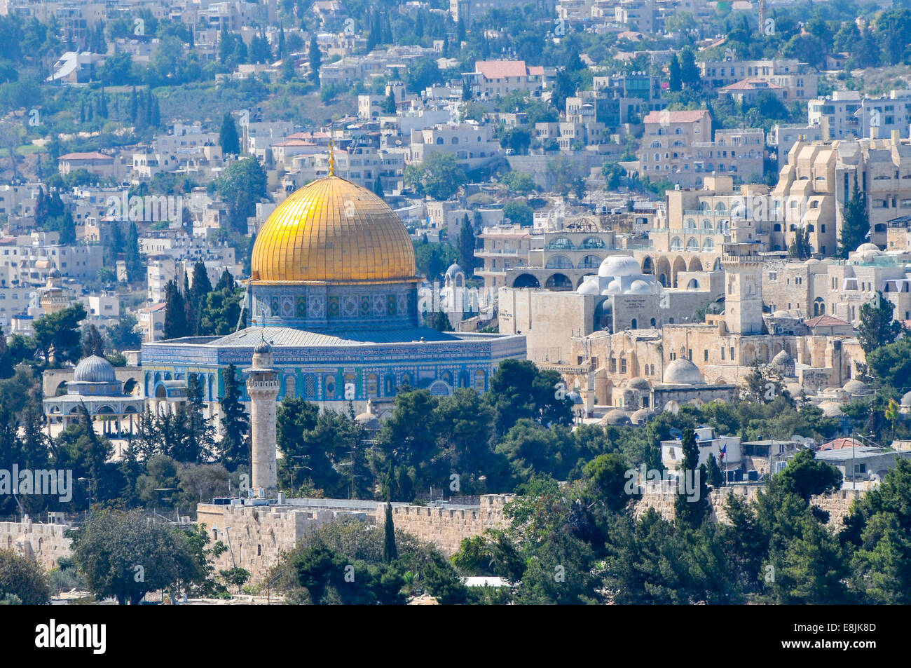 View of the Dome of the Rock on Temple Mount, as seen from the Zeevi observation point on Mount Olives, Jerusalem, Stock Photo