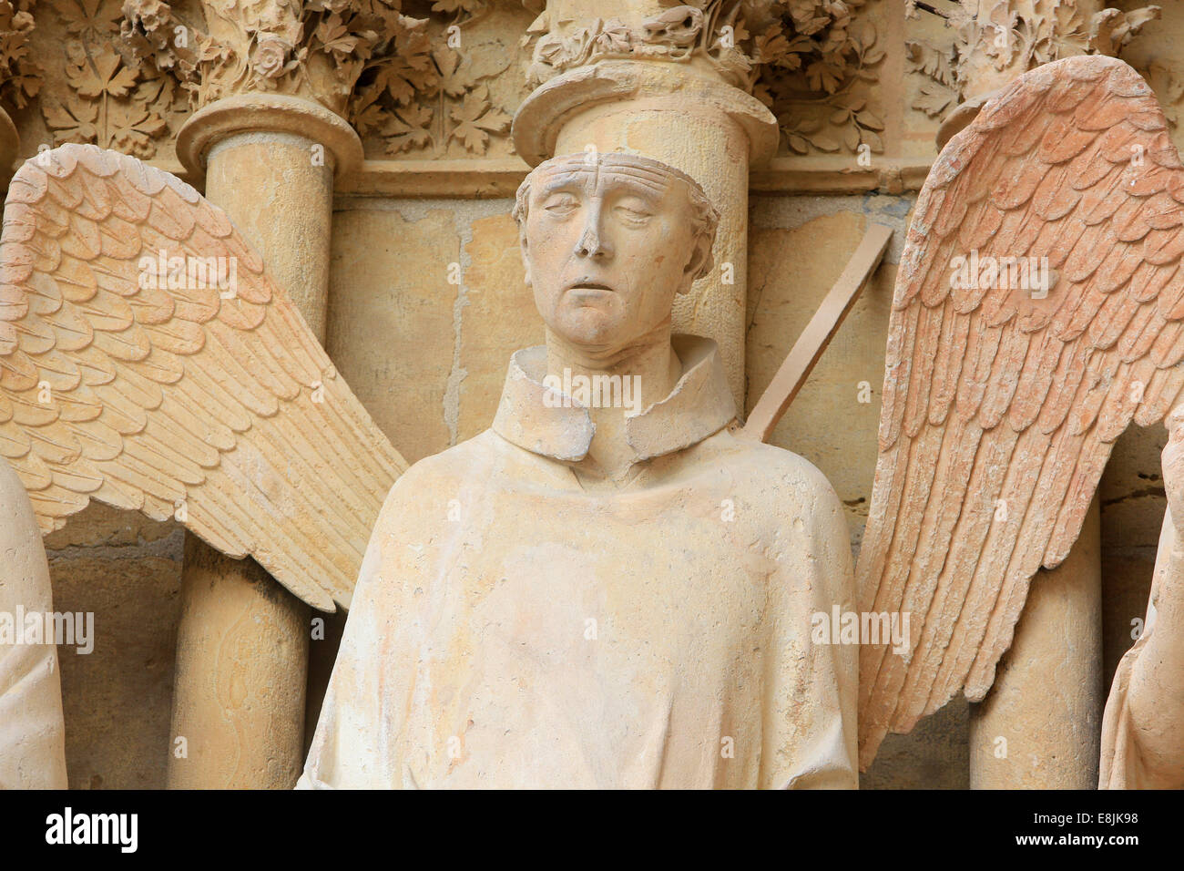 St. Nicaise (shown with the top of the head removed) or Albert of Louvain, Bishop of Liege, beheaded at Reims in - Stock Image