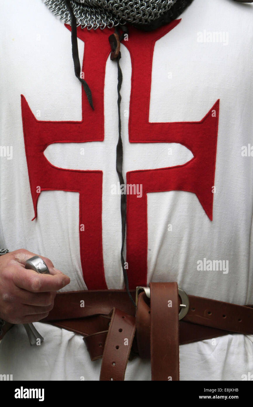 Military equipment of the Knights Templar. Provins Medieval Festival. - Stock Image