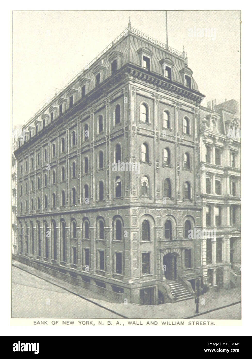 (King1893NYC) pg710 BANK OF NEW YORK, WALL AND WILLIAM STREETS - Stock Image