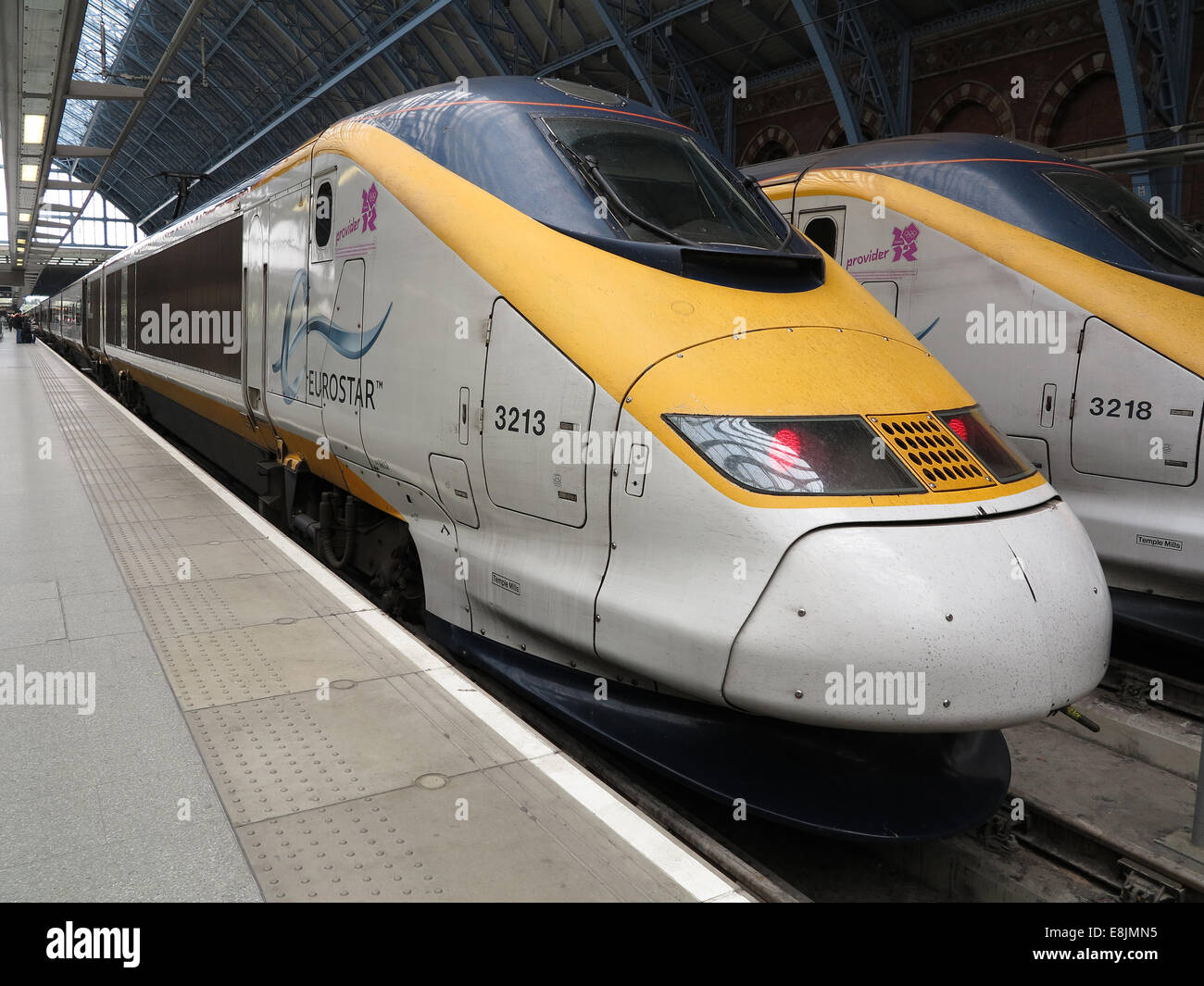 Eurostar trains in St Pancras's station - Stock Image