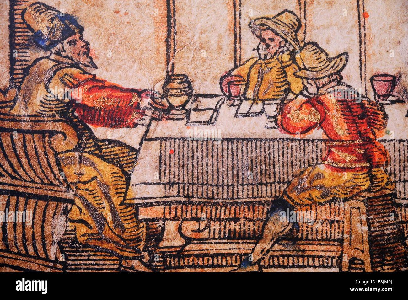 The Israel Museum. Seder night, Venice Haggadah, Italy, 1609. - Stock Image