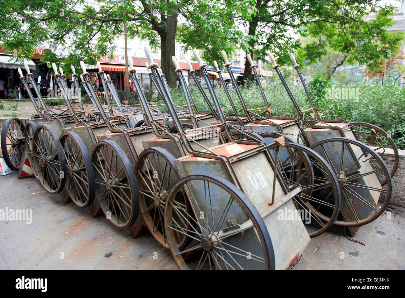 Unused carts, Budapest, Hungary - Stock Image
