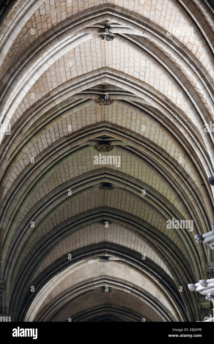 Notre-Dame de Rouen cathedral. Lateral nave. - Stock Image