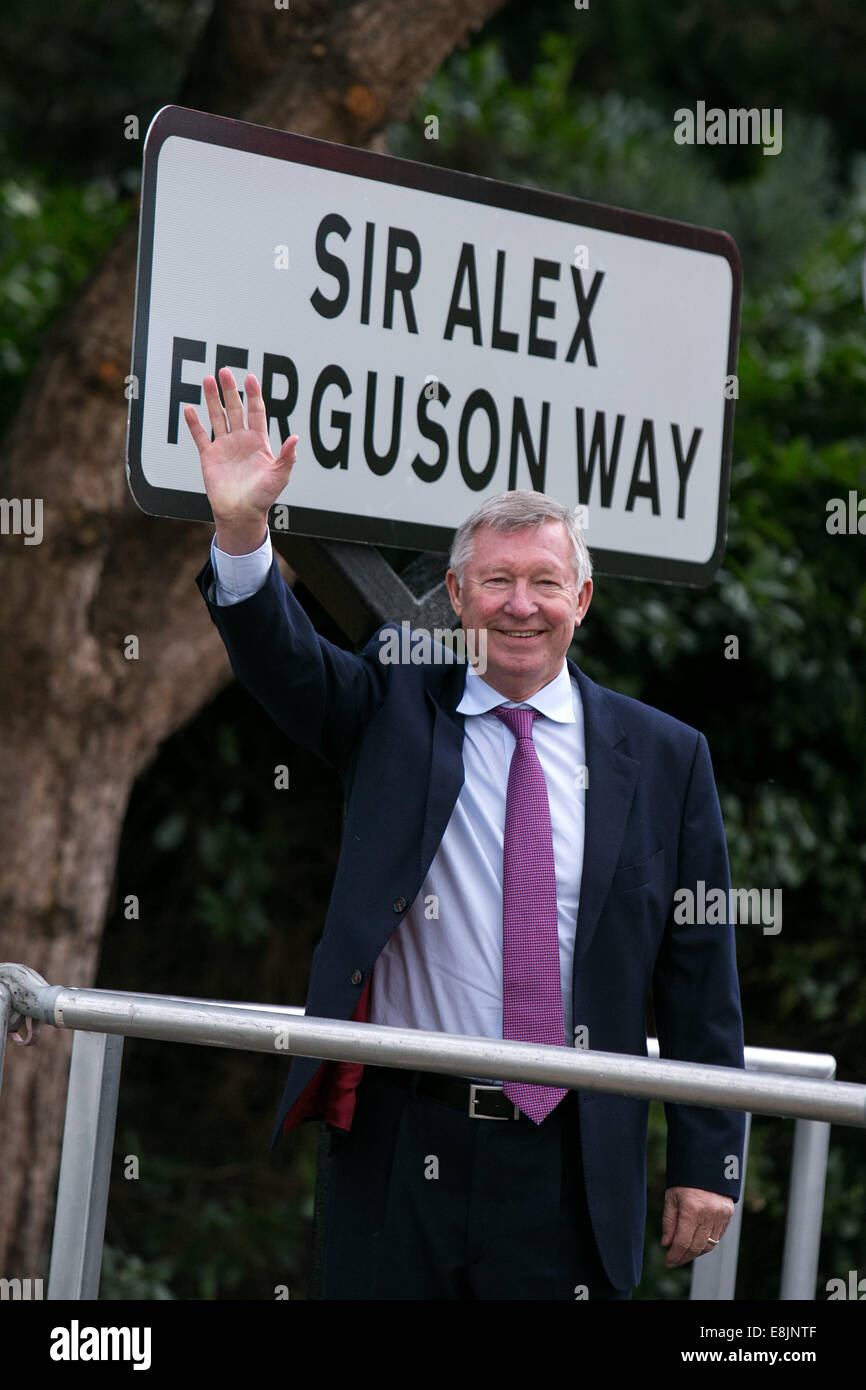 Sir Alex Ferguson at a road naming ceremony near Old Trafford football ground.  Monday 14th October 2013 . Sir Alex - Stock Image