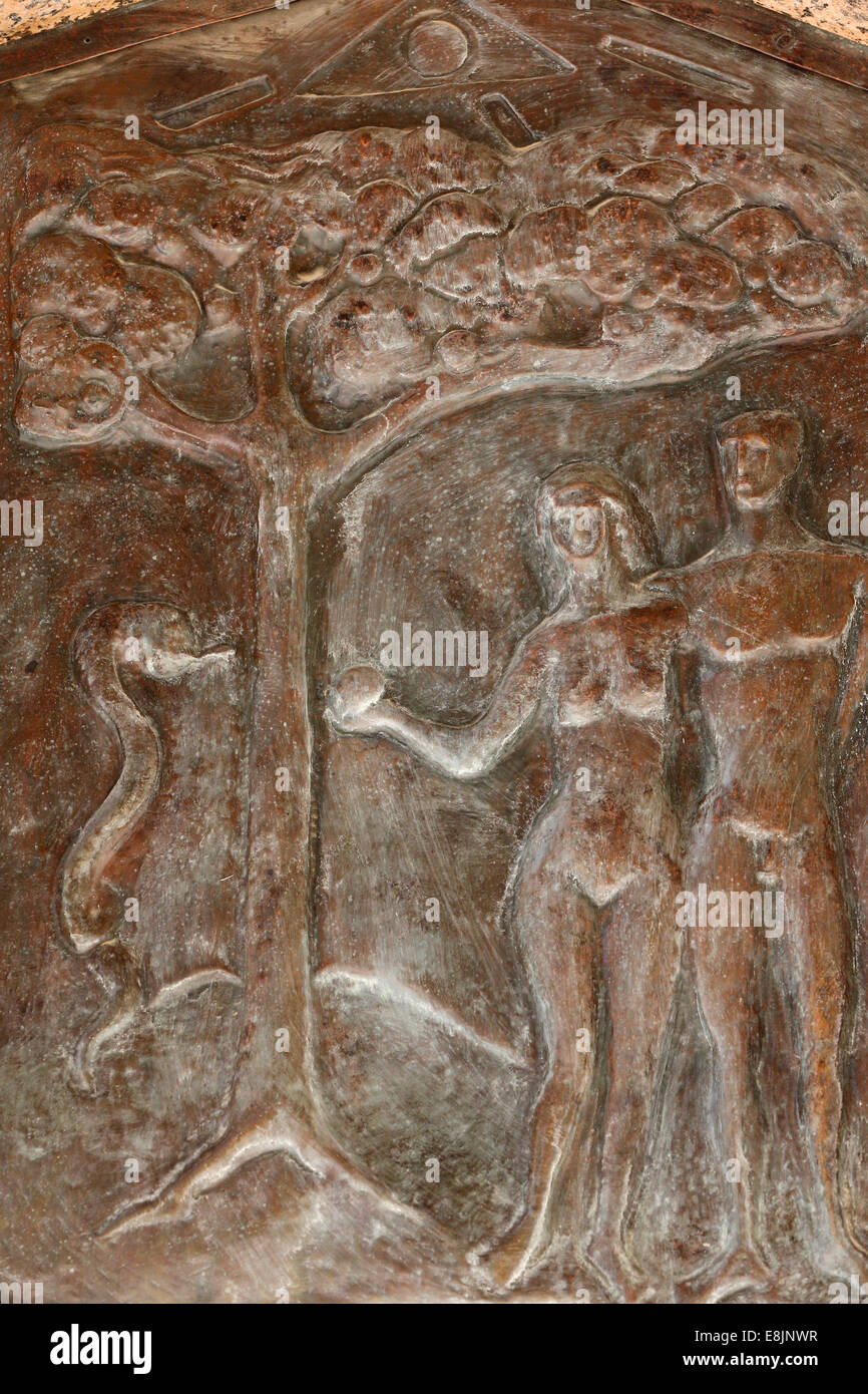 Basilica of the Annunciation. Adam and Eve. The forbidden fruit. Stock Photo