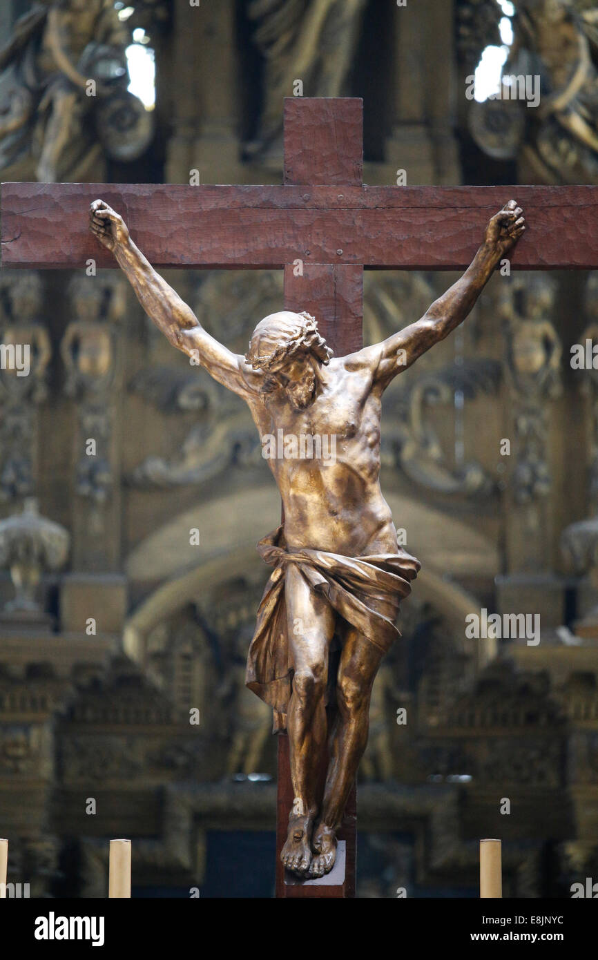 Notre-Dame de Rouen cathedral. Christ in Gilded Lead by the sculptor Clodion. - Stock Image