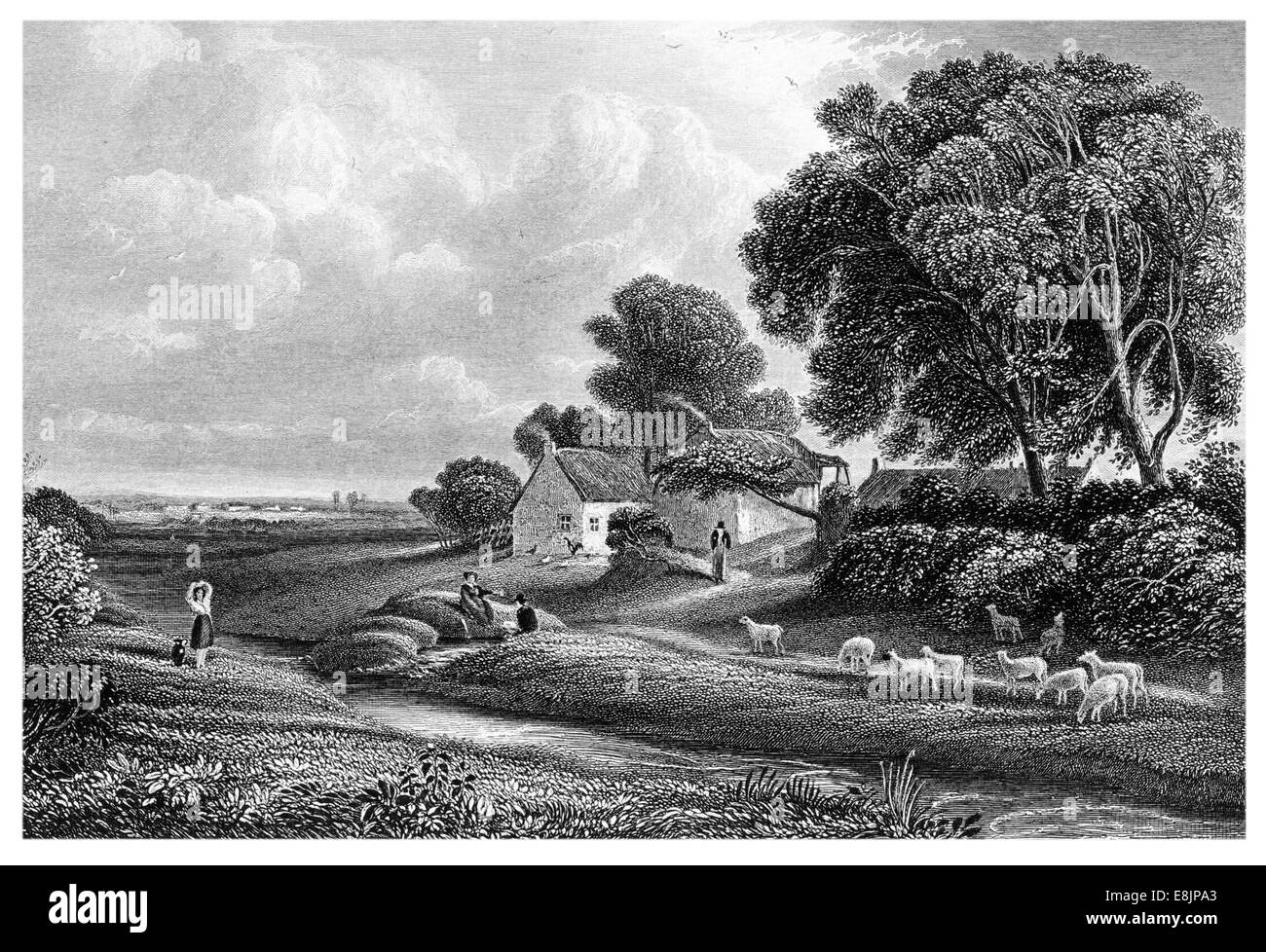 Brow A Hamlet near the Solway Firth Associated with Robert Burns last illness Dumfrieshire Scotland circa 1840 - Stock Image