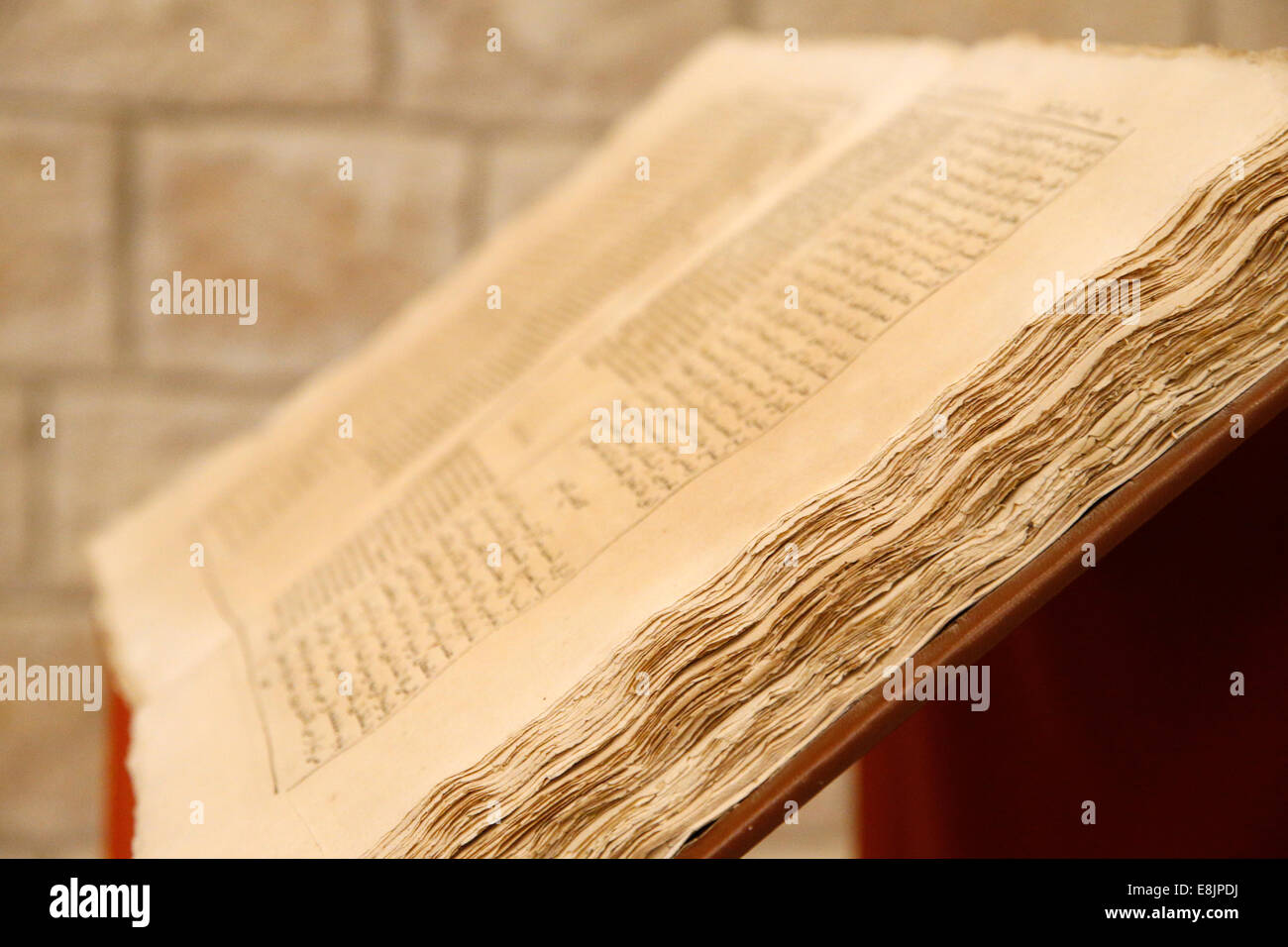 Sisters of Nazareth Convent. Old bible in arabic and latin. - Stock Image