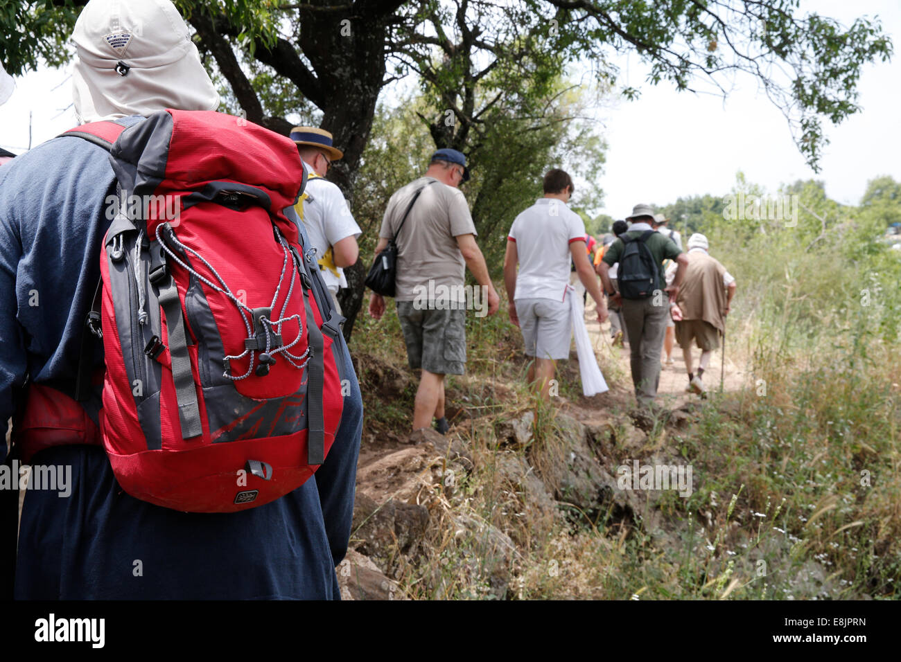Pilgrimage in Holy Land. Walk in Golan Heights. - Stock Image
