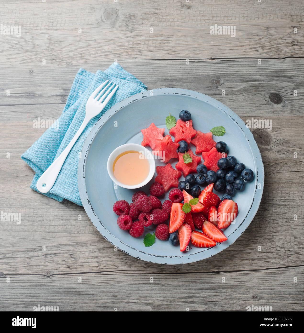 fresh fruits salad - Stock Image