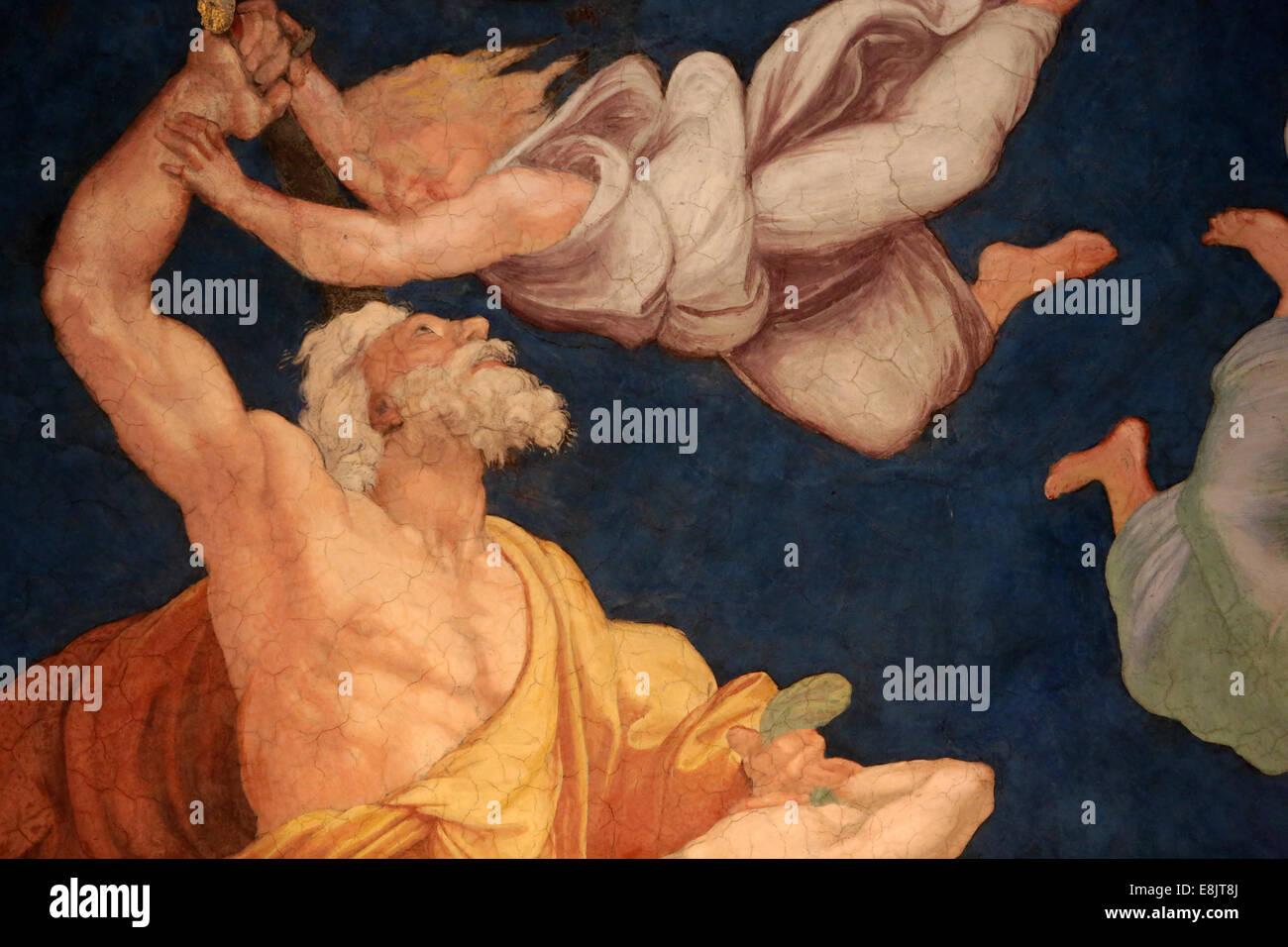 The sacrifice of Isaac. Room of Heliodorus. Vatican Museum. - Stock Image