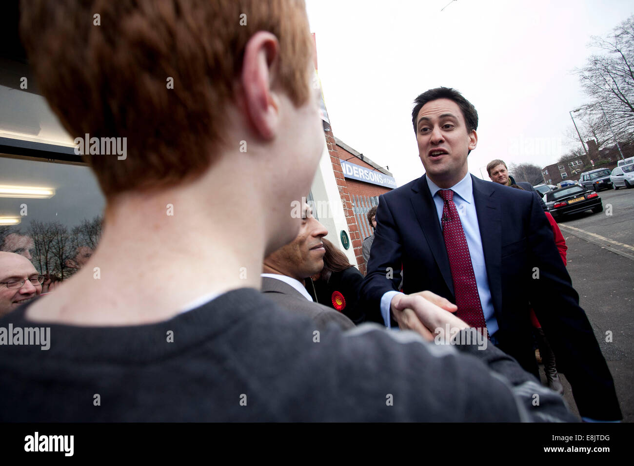 Oldham East and Saddleworth by election. Ed Miliband  supports Labour candidate Debbie Abrahams 03/1/11 - Stock Image