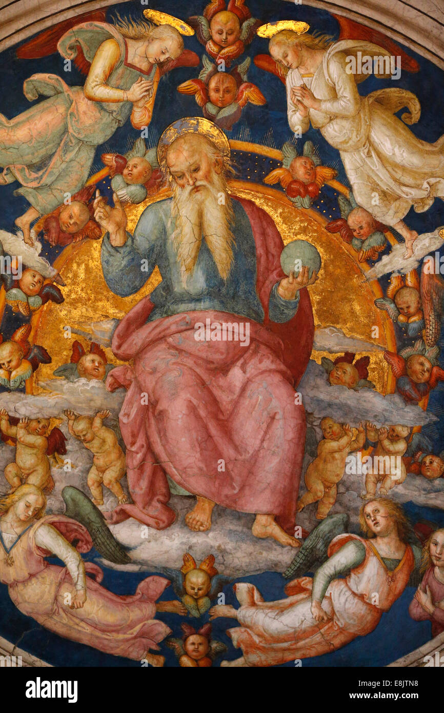God the creator. Detail of the celling. Room of the Fire in the Borgo. Vatican Museum. - Stock Image
