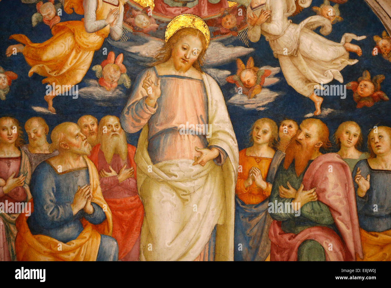 Jesus and the apostles. Detail of the celling. Room of the Fire in the Borgo. Vatican Museum. - Stock Image