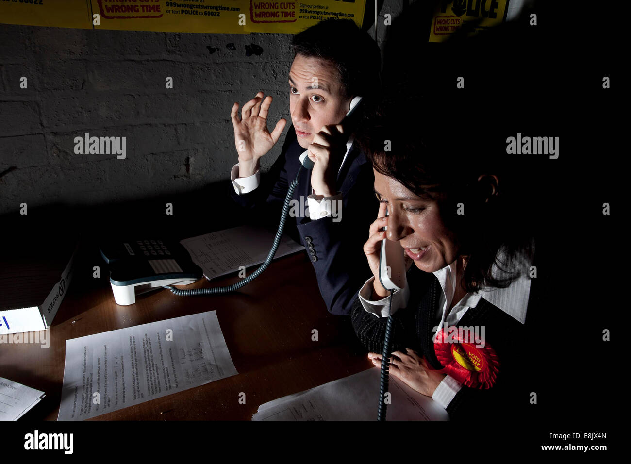 Ed Miliband visits Biz Space in Delph to lend his support to Labour candidate Debbie Abrahams - Stock Image