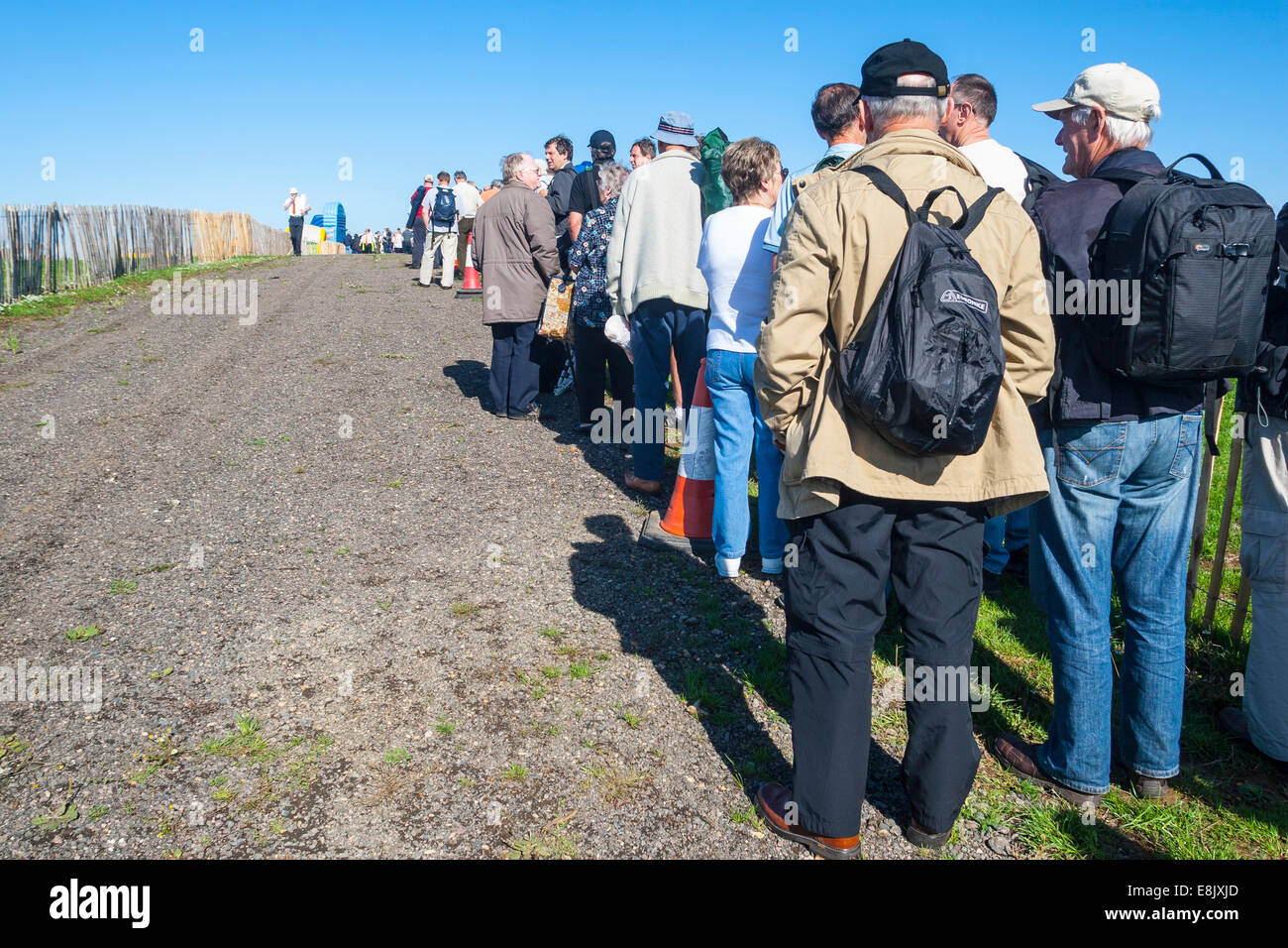 Long queue to enter the 2010 Sywell air show celebrating 70 years anniversary of Battle of Britain. - Stock Image
