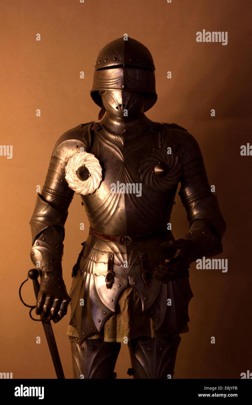 An armor of a knight in Segovia, Castilla y Leon region, Spain, Europe - Stock Image