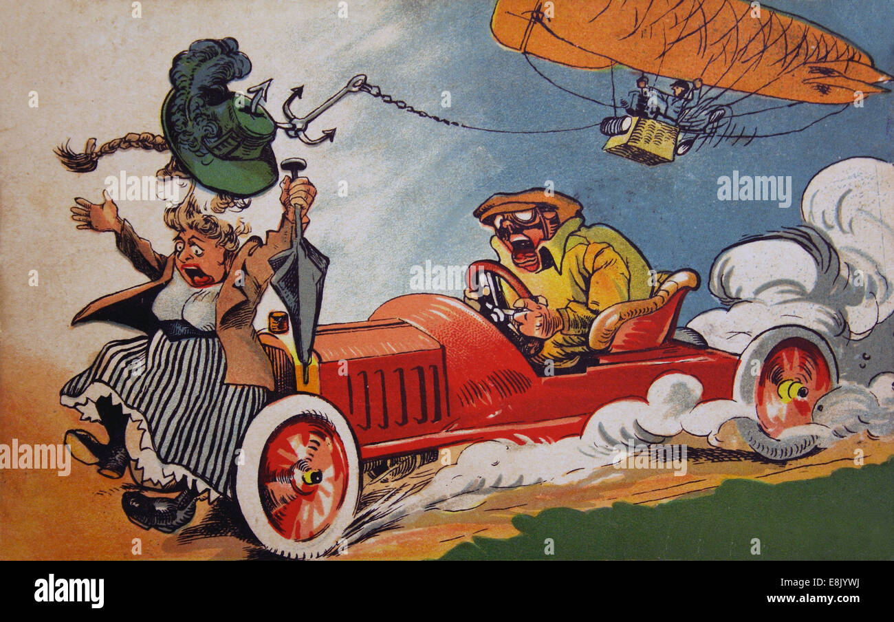 Postcard printed in Russia shows Funny picture. 1st Dec, 2009. Motorist terrified screams from the fact that a woman - Stock Image