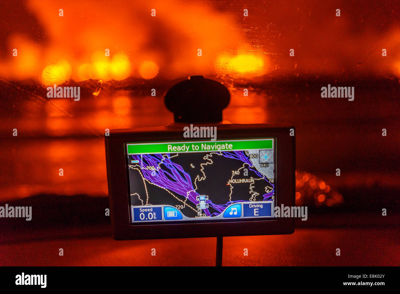 GPS with the Holuhraun Fissure Eruption in the background, Northern Iceland. - Stock Image